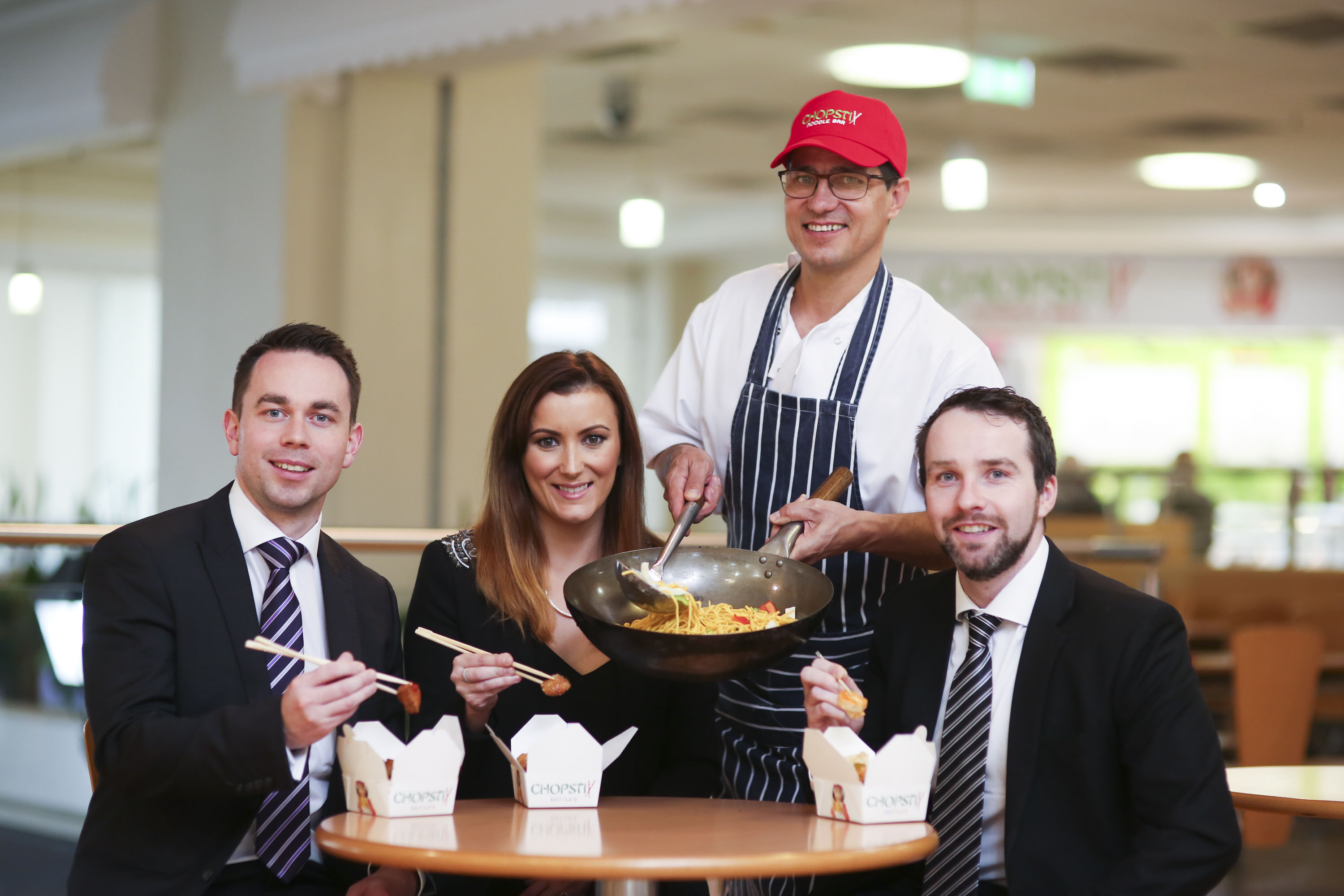 Pictured L-R is Thomas Loughlin, DTZ McCombe Pierce, Natalie Jackson, Marketing and Commercial Manager at Fairhill Shopping Centre, Bobby Iacob, Manager of Chopstix Ballymena and Liam McAuley, GVA NI.