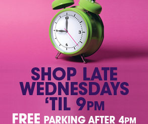 <h2>FREE PARKING WEDNESDAYS</h2> <p>Shop til' you drop for FREE from 4pm every Wednesday!</p> <p> </p> <p> </p>